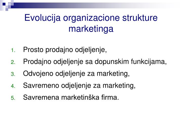 Evolucija organizacione strukture marketinga