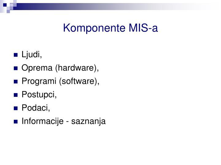 Komponente MIS-a