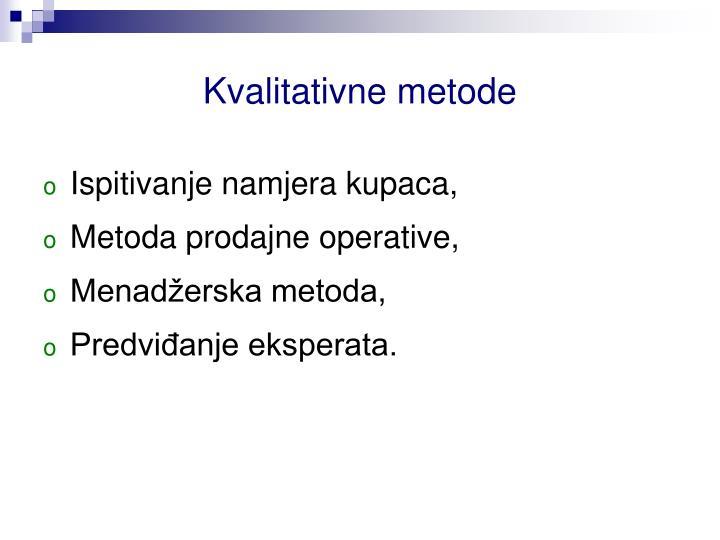 Kvalitativne metode