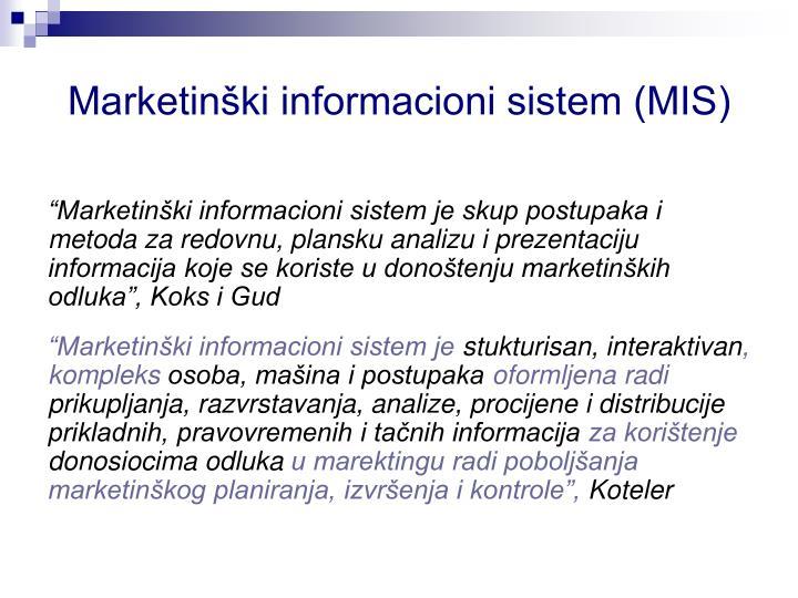 Marketinški informacioni sistem (MIS)