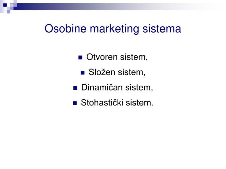 Osobine marketing sistema