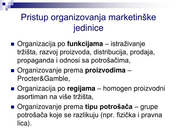 Pristup organizovanja marketinške jedinice