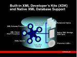 built in xml developer s kits xdk and native xml database support