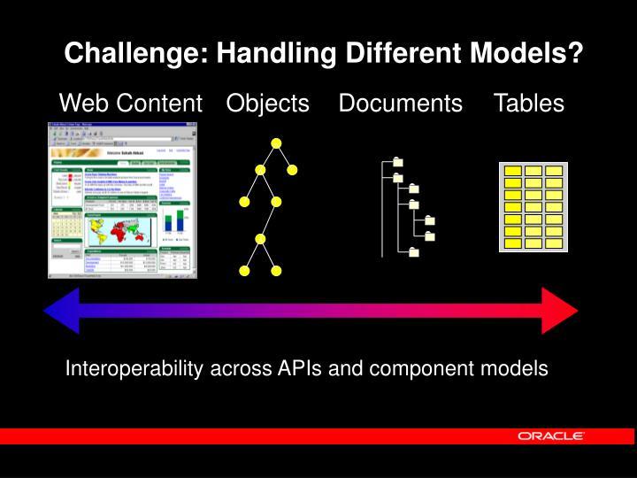 Challenge: Handling Different Models?