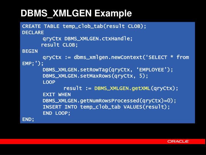 DBMS_XMLGEN Example
