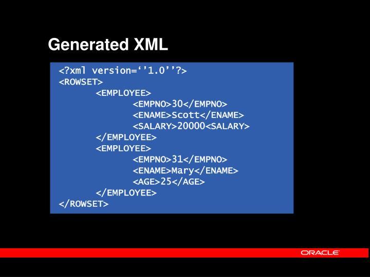 Generated XML