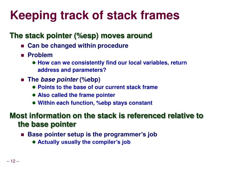 Keeping track of stack frames