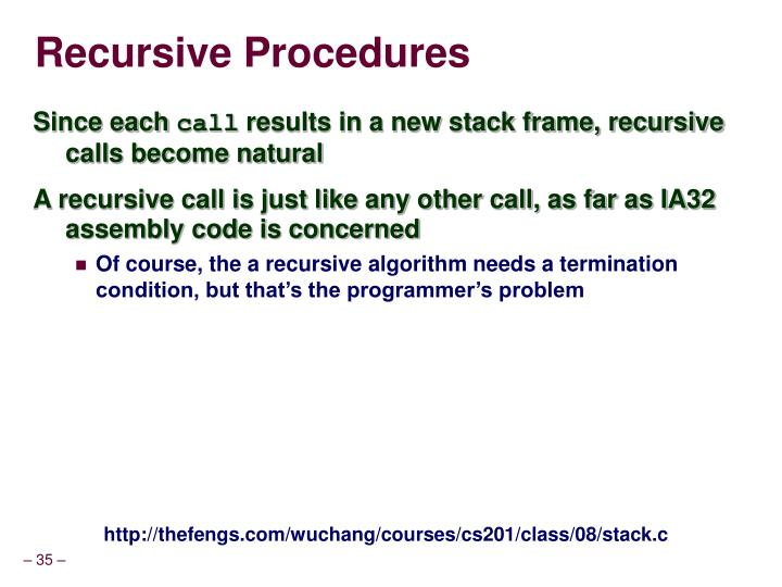 Recursive Procedures