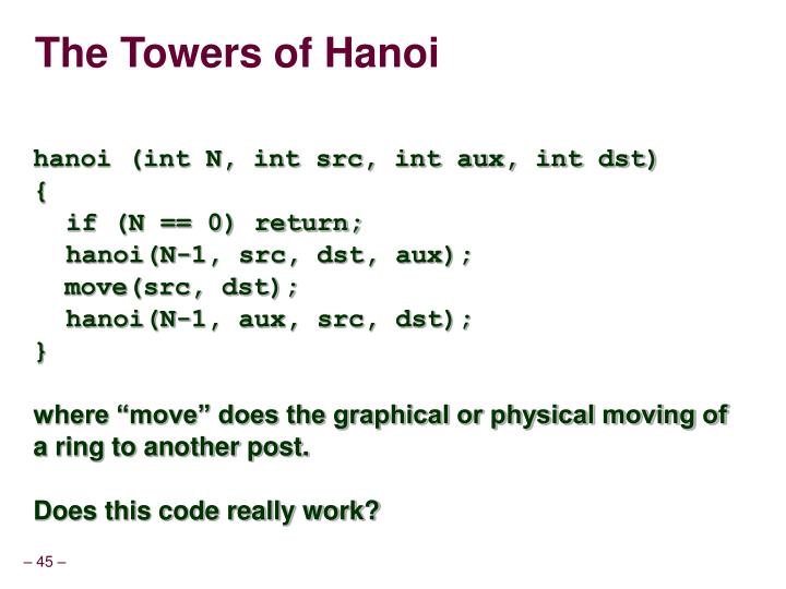 The Towers of Hanoi