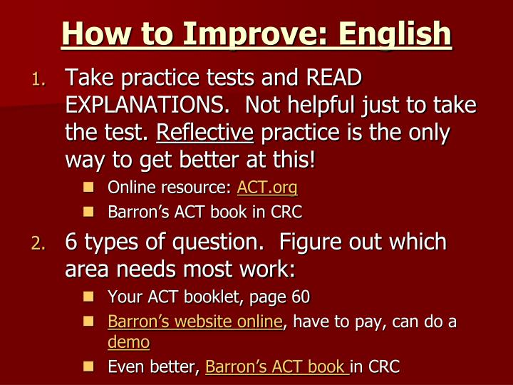 How to Improve: English