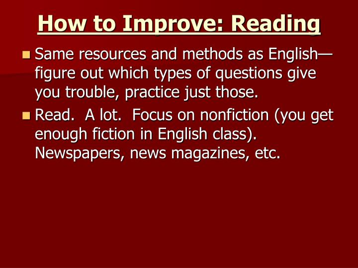 How to Improve: Reading