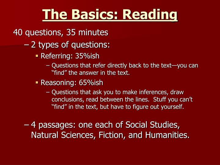 The Basics: Reading