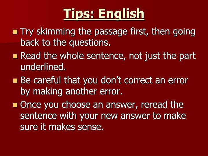 Tips: English