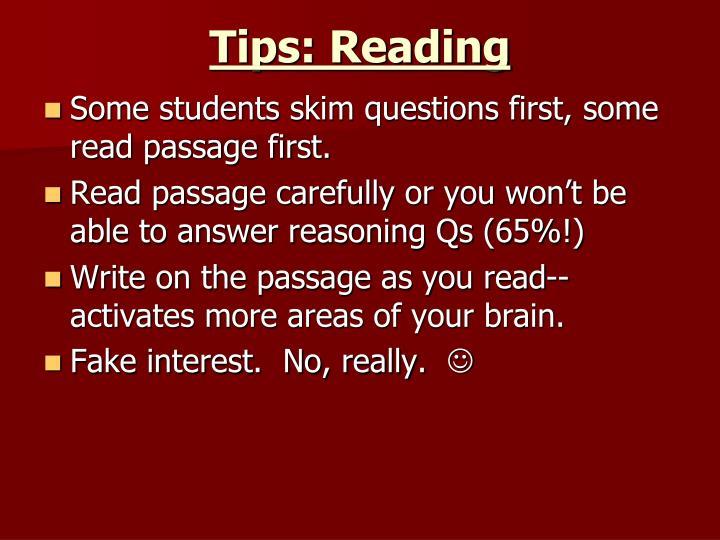Tips: Reading