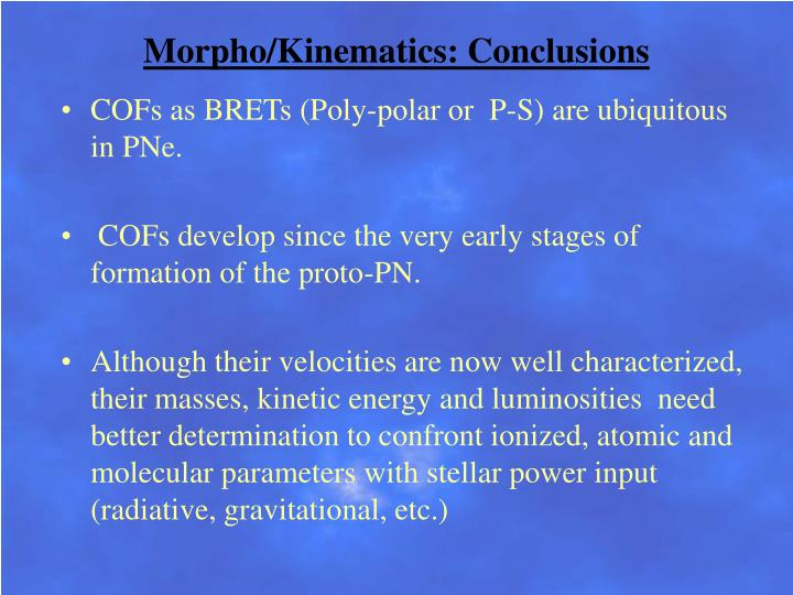 Morpho/Kinematics: Conclusions
