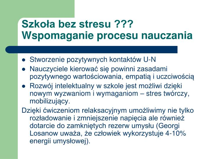 Szkoła bez stresu ???