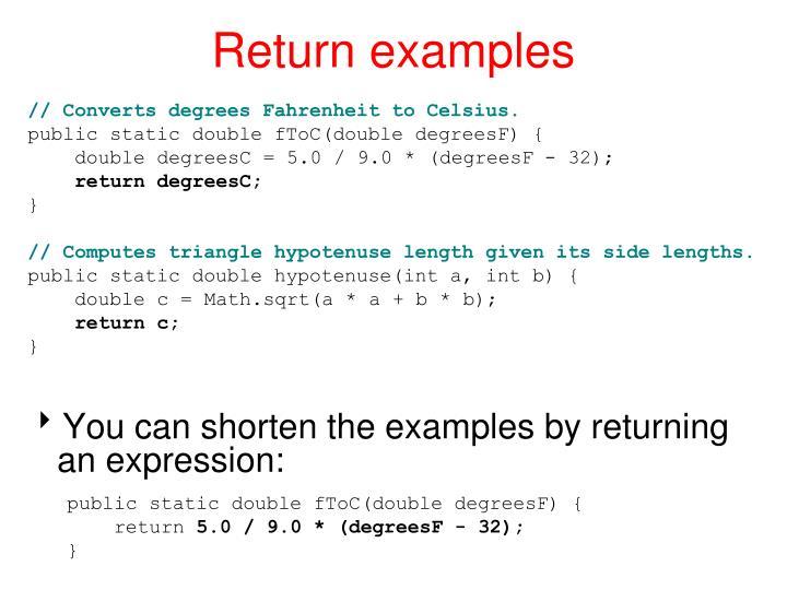 Return examples