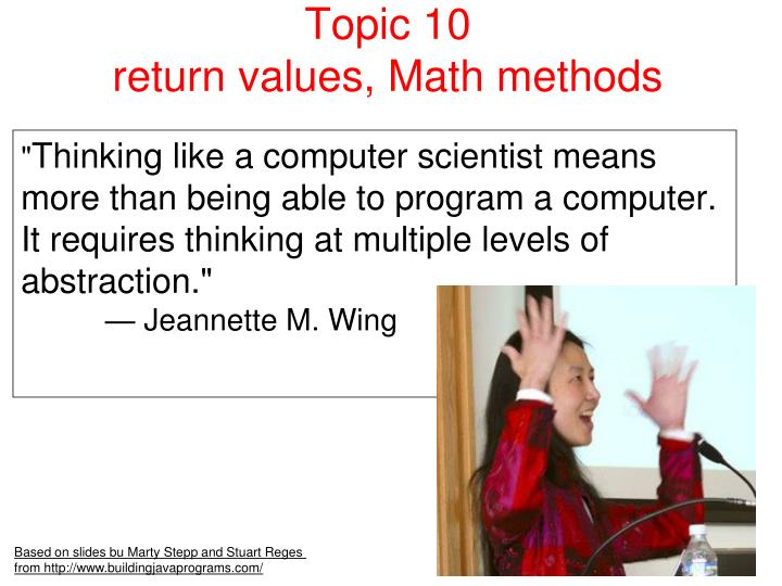 Topic 10 return values math methods