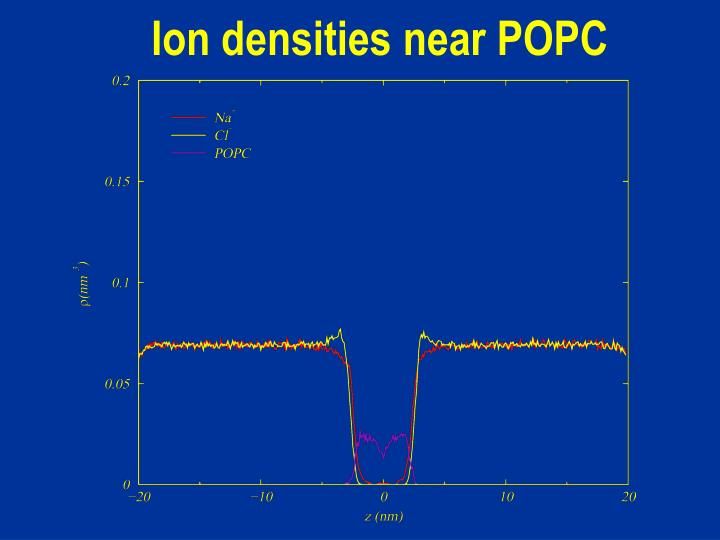 Ion densities near POPC