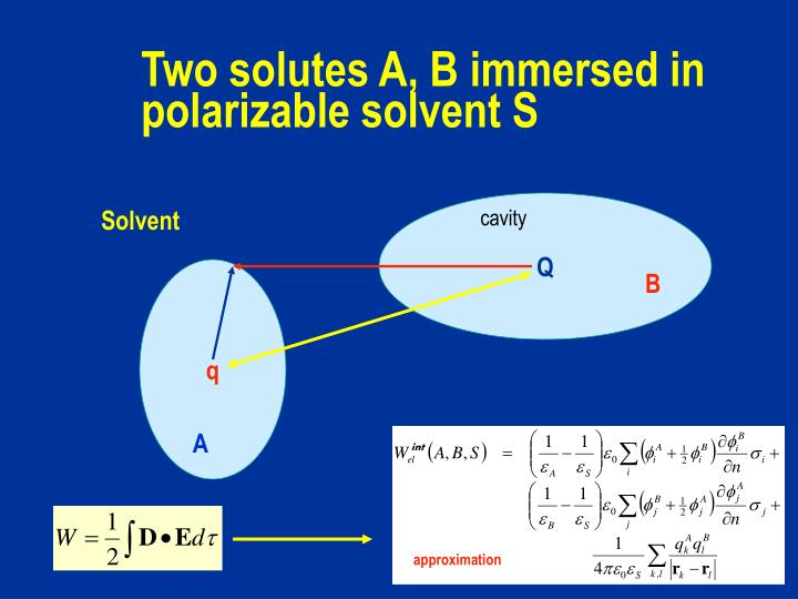 Two solutes A, B immersed in polarizable solvent S