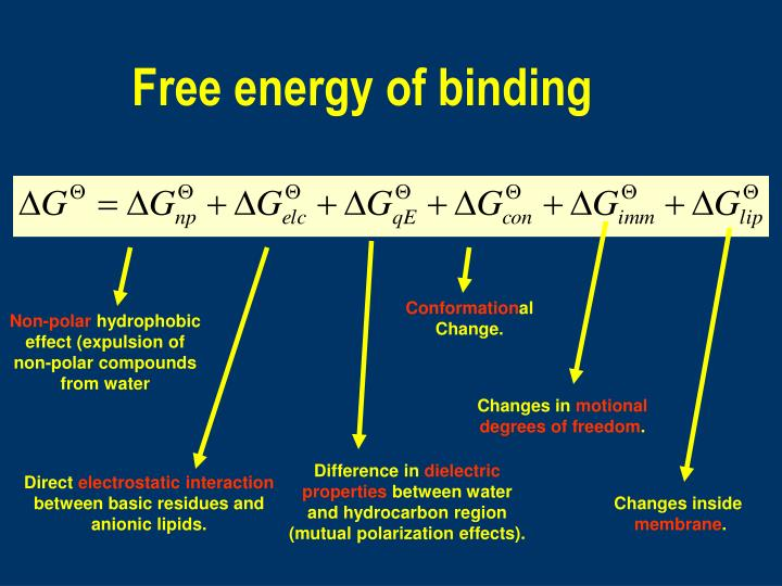 Free energy of binding