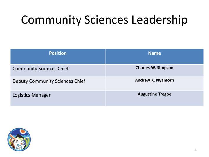 Community Sciences Leadership