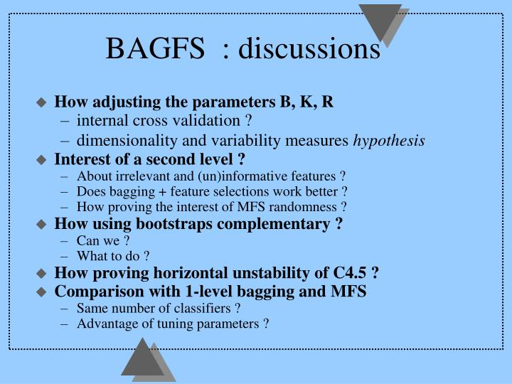 BAGFS  : discussions