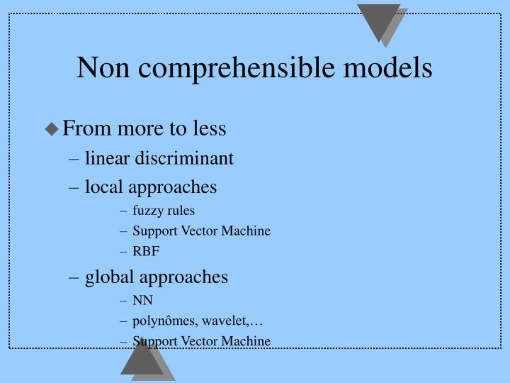 Non comprehensible models