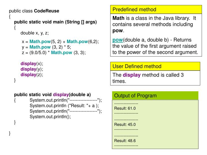 Predefined method