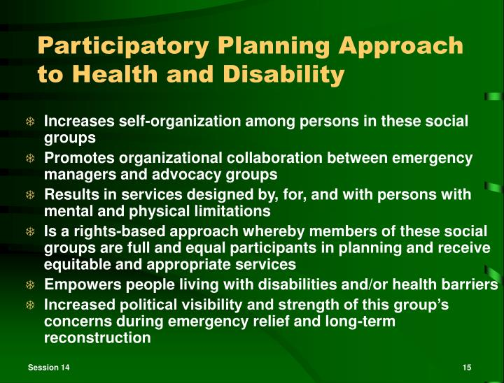 Participatory Planning Approach to Health and Disability