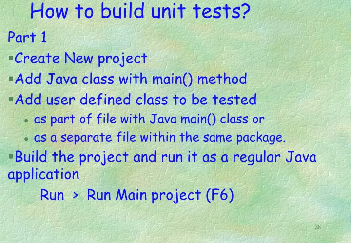 How to build unit tests?