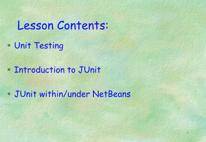 Lesson Contents: