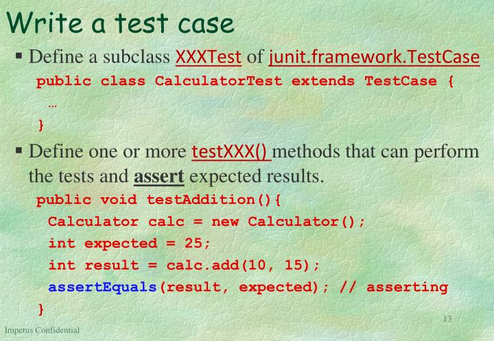 Write a test case