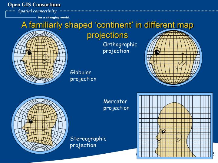 A familiarly shaped 'continent' in different map projections