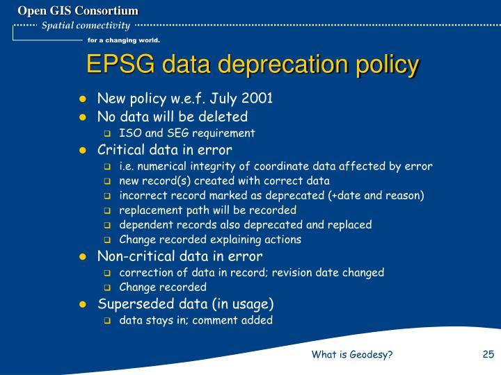 EPSG data deprecation policy