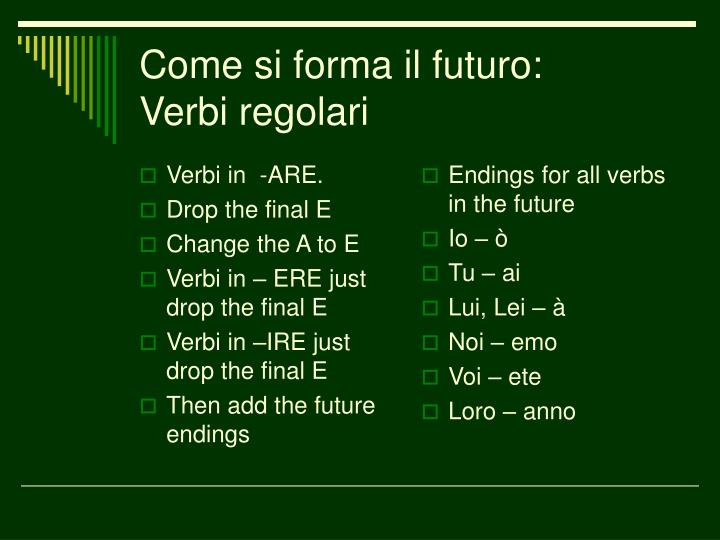 Verbi in  -ARE.