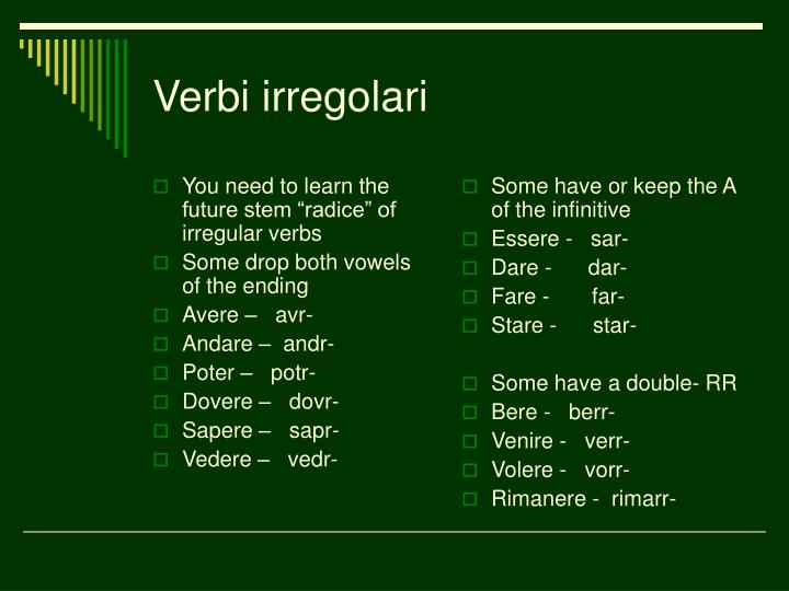 "You need to learn the future stem ""radice"" of irregular verbs"