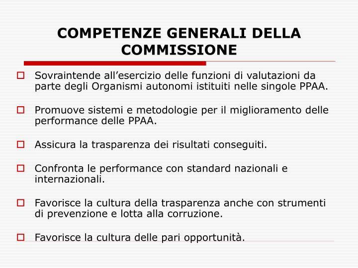 COMPETENZE GENERALI DELLA COMMISSIONE