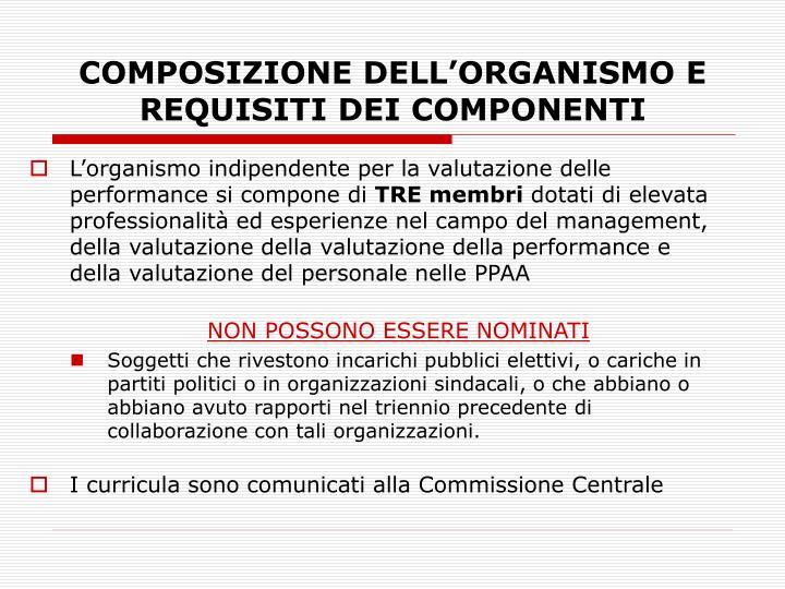 COMPOSIZIONE DELL'ORGANISMO E REQUISITI DEI COMPONENTI