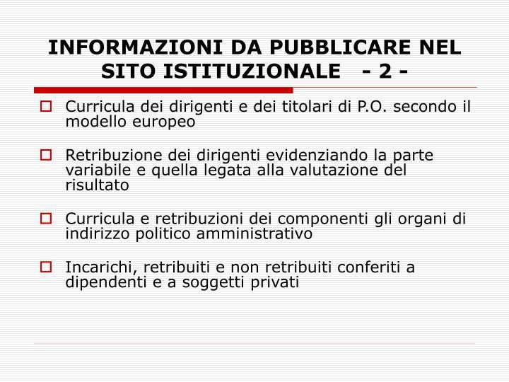 INFORMAZIONI DA PUBBLICARE NEL SITO ISTITUZIONALE   - 2 -