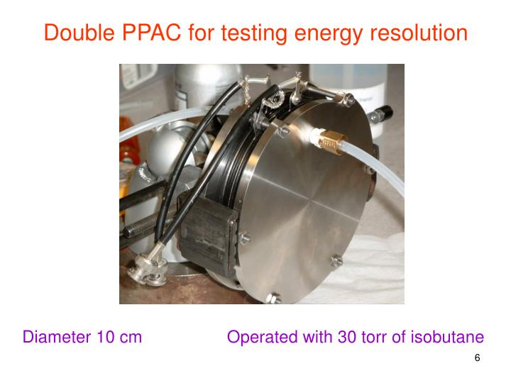 Double PPAC for testing energy resolution