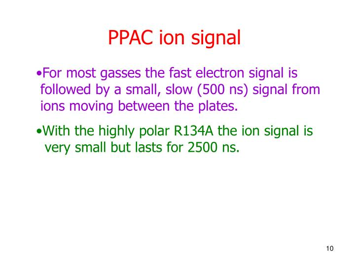 PPAC ion signal