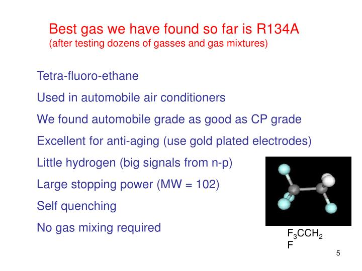 Best gas we have found so far is R134A