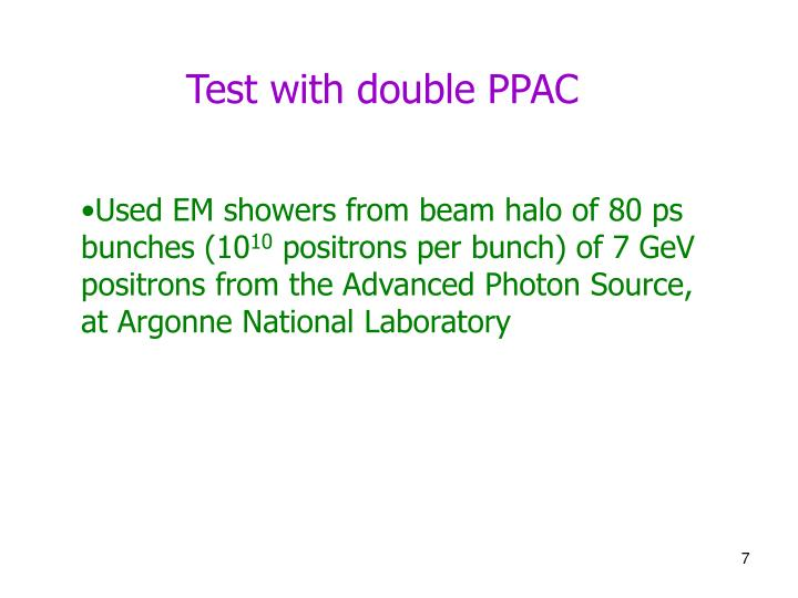 Test with double PPAC