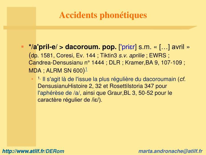 Accidents phonétiques