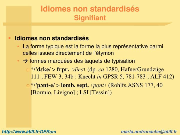 Idiomes non standardisés