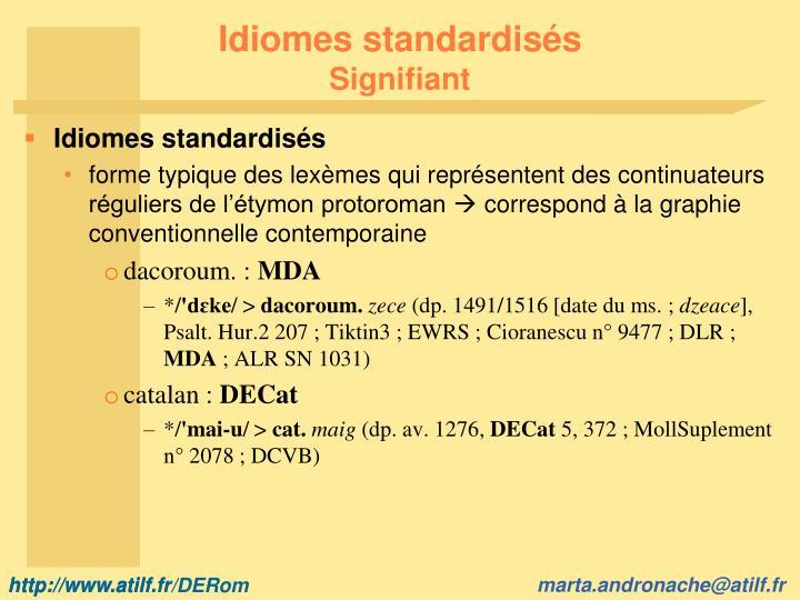 Idiomes standardisés