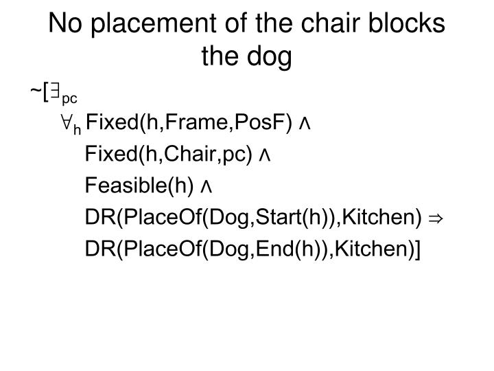 No placement of the chair blocks the dog