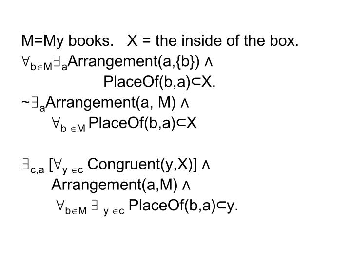 M=My books.   X = the inside of the box.