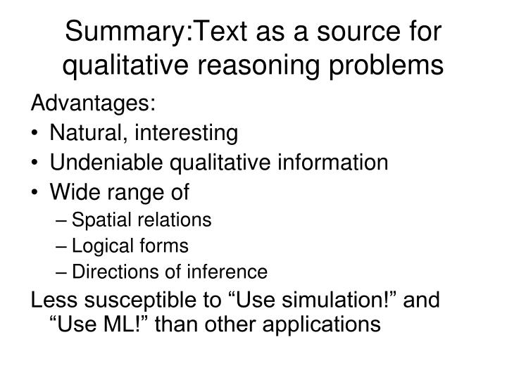 Summary:Text as a source for qualitative reasoning problems